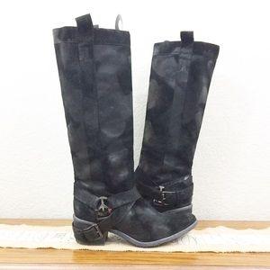 Donald J. Pliner Black Leather Suede Devina Boots